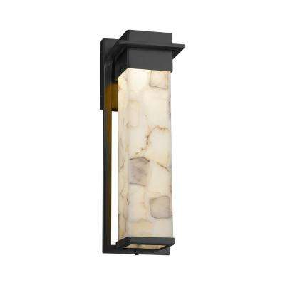 Alabaster Rocks Pacific Matte Black LED Outdoor Wall Lantern Sconce with Alabaster Rocks Shade