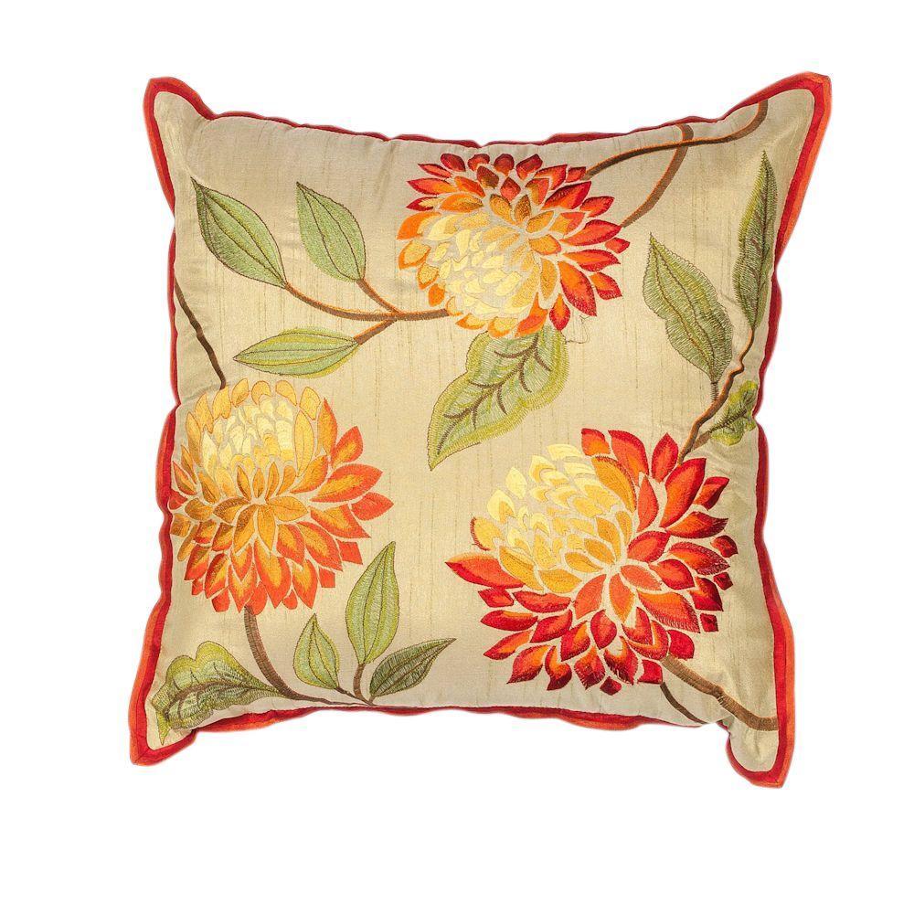 Triple Flower Red/Beige Decorative Pillow