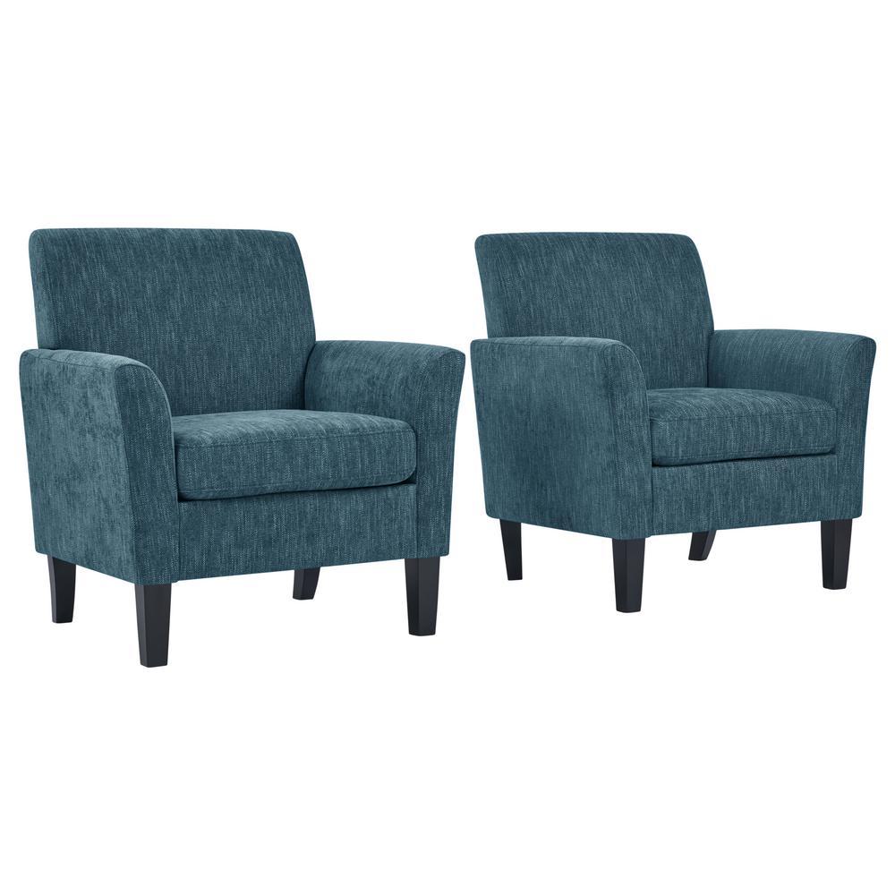 Caribbean Blue Herringbone Maritza Flared Arm Upholstered Chairs (Set of 2)