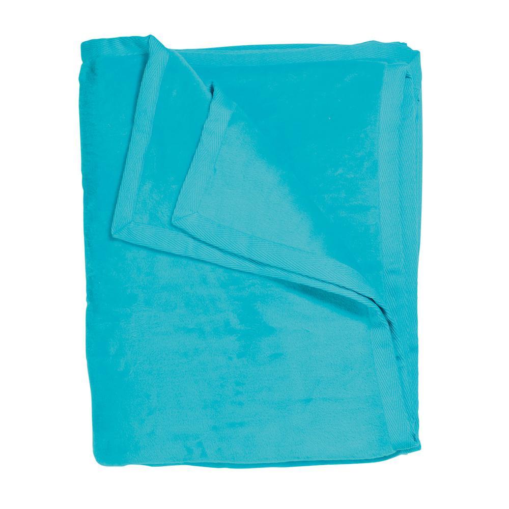 Cotton Fleece Turquoise Queen Woven Blanket