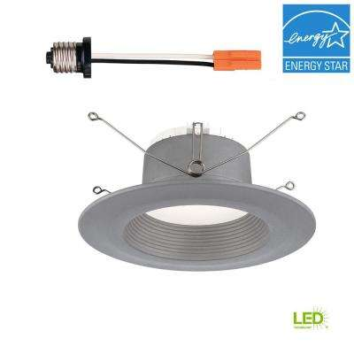6 in. Brushed Nickel Trim Integrated LED Recessed Ceiling Light, 3000K, 90 CRI, 670 Lumens