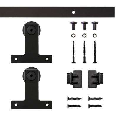 Black Front Mount Rolling Single Furniture Door Kit with 4 ft. Rail