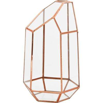 Mika 4.5 in. W x 9 in. H Rose Gold Faceted Glass Crystal Terrarium