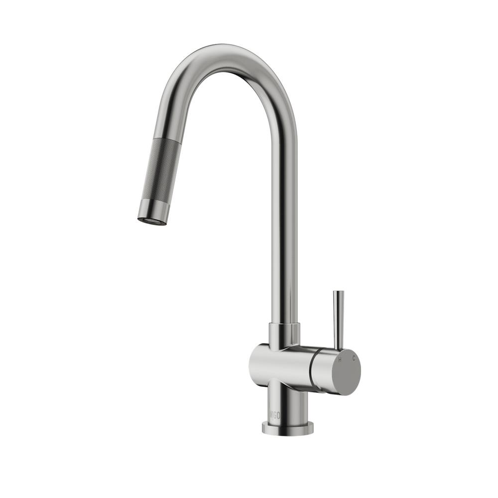 VIGO Gramercy Single-Handle Pull-Down Sprayer Kitchen Faucet in ...