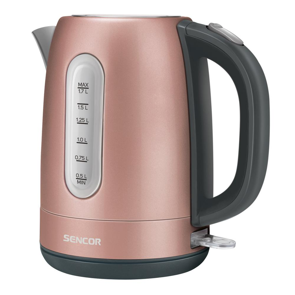 Sencor 7-Cup Stainless Pink Cordless Electric Kettle Cordless electric kettles by Sencor heats water twice as fast as stove top, offering better speed, convenience, energy efficiency and safety The stainless steel kettle comes with 360° swivel and beautiful metallic finish. Color-coordinate with other kitchen electrics by Sencor to create a beautiful kitchen with European design touch. Color: Pink.