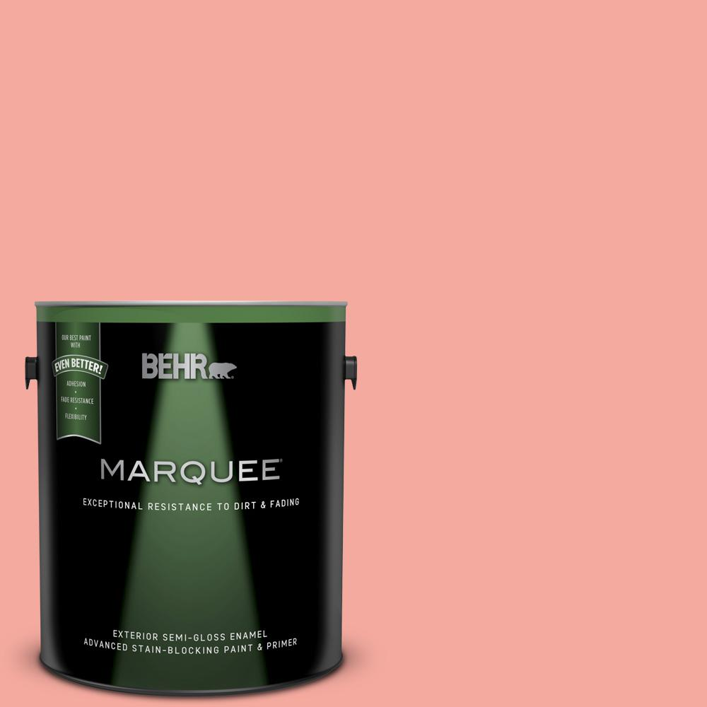 BEHR MARQUEE 1 gal  #190D-4 Rosy Outlook Semi-Gloss Enamel Exterior Paint  and Primer in One