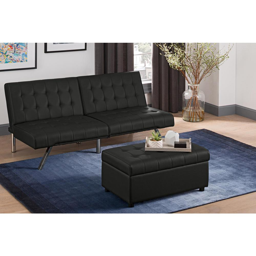 Dhp Emily Black Faux Leather Rectangular Storage Ottoman