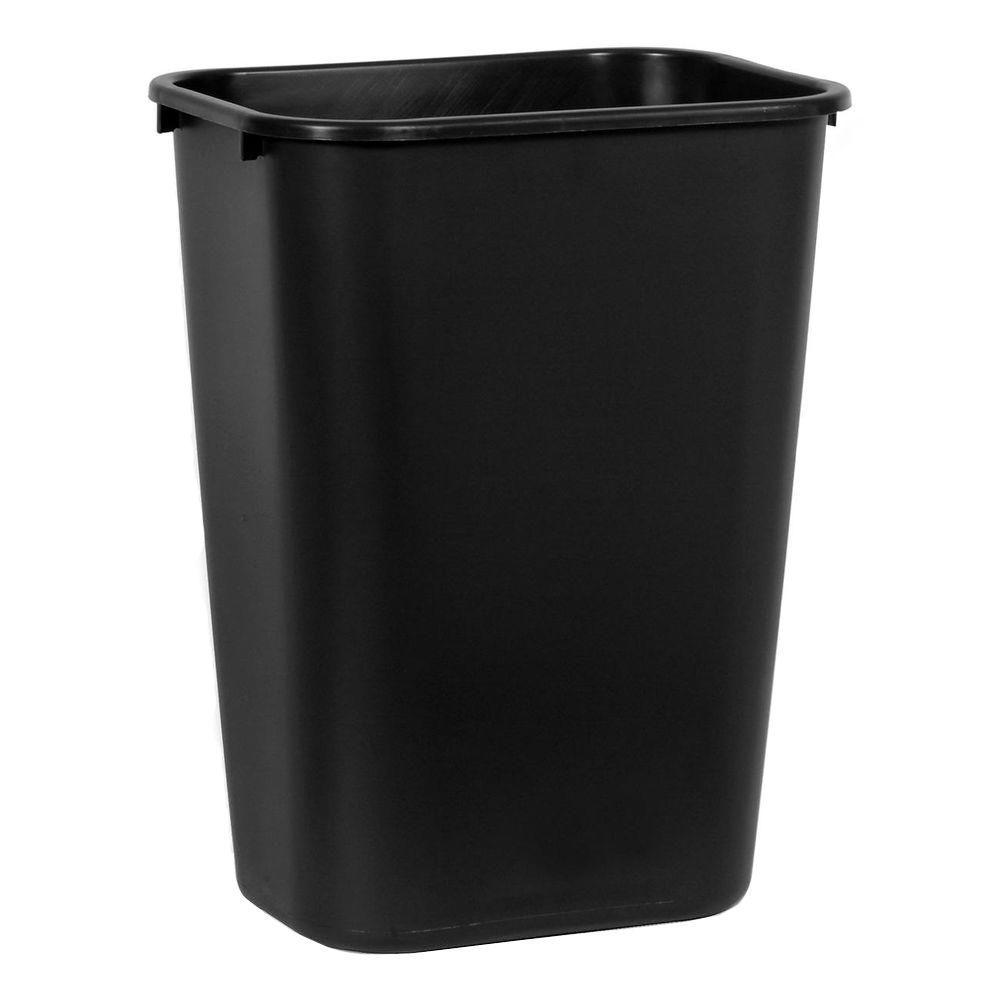 23 Gal Black Trash Can Rectangular Garbage Container Plastic Lidless Bin 4 PACK