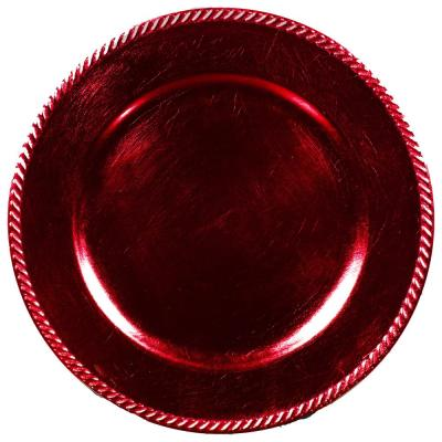 Home Essentials & Beyond 13 in. 4-Piece Rope Red Plate Charger Set