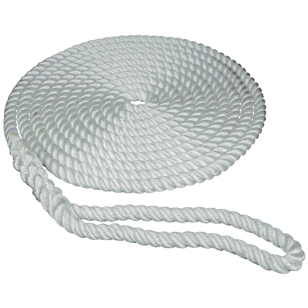 "4 White Twisted Nylon Boat Dock Lines 3//8/"" Marine Rope Each 10/' /& 15/' ft 2"