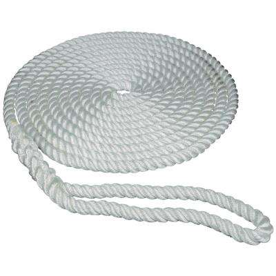 3/4 in. x 25 ft. Strand Twisted Nylon Dock Line, White with Blue Tracer