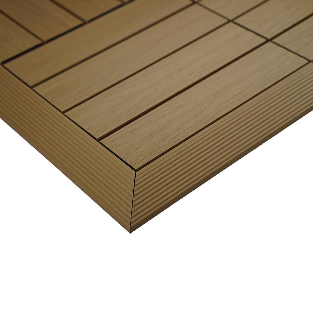 1/6 ft. x 1 ft. Quick Deck Composite Deck Tile Outside Corner Trim in Japanese Cedar (2-Pieces/Box)