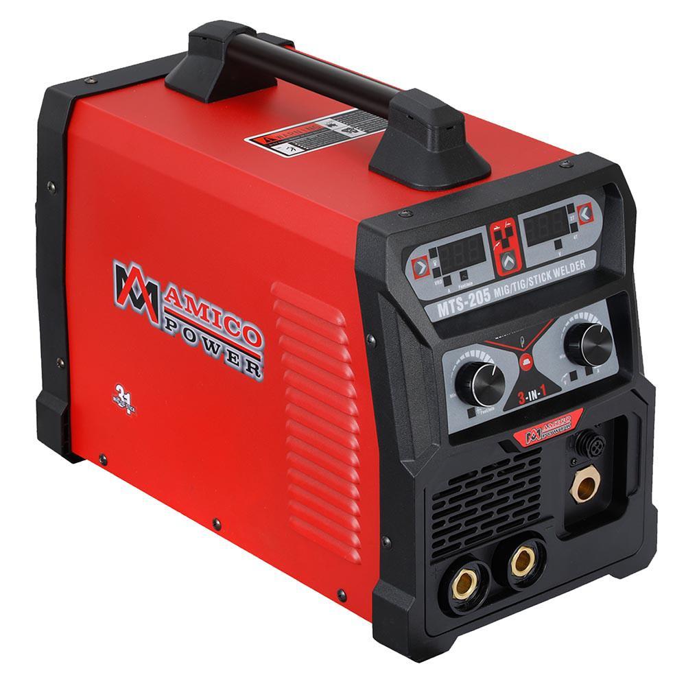 205 Amp MIG Wire Feed/Flux Core/TIG Torch/Stick Arc Welder, Weld Aluminum with 2T/4T 110-Volt/230-Volt Welding