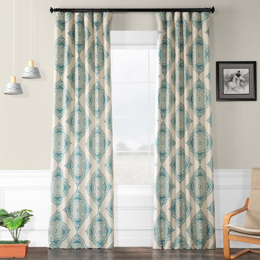 Exclusive Fabrics & Furnishings Semi-Opaque Henna Teal Blackout Curtain - 50 in. W x 96 in. L (Panel)