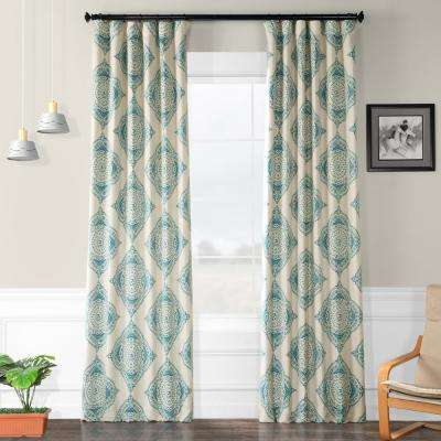 Semi-Opaque Henna Teal Blackout Curtain - 50 in. W x 96 in. L (Panel)