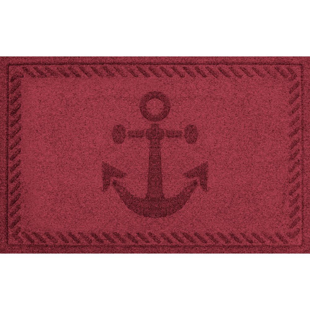 Red Black 24 in. x 36 in. Ships Anchor Polypropylene Door Mat