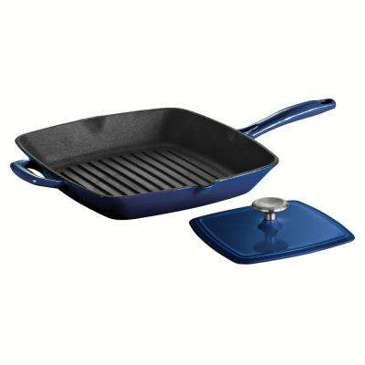 Gourmet Enameled Cast Iron Grill Pan with Built-in Handles