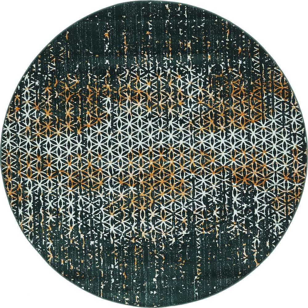 Unique Loom Mirage Teal 6 Ft X 6 Ft Round Area Rug