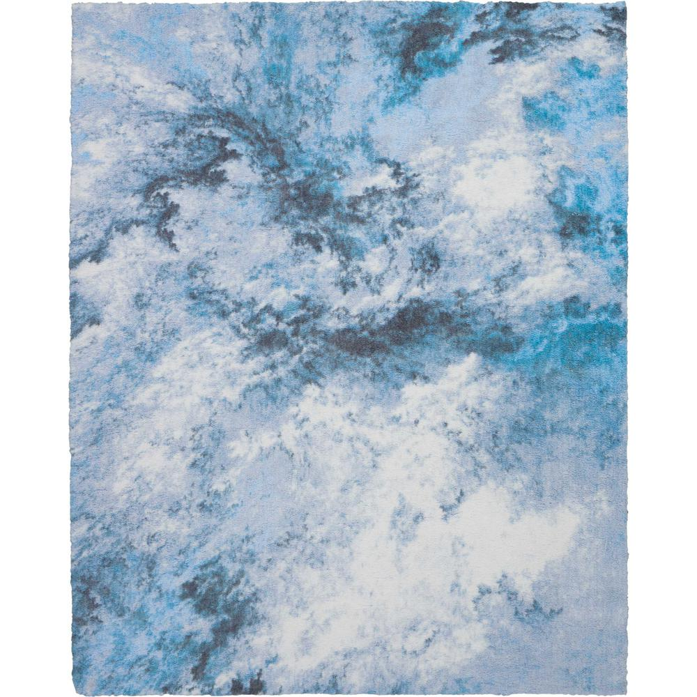 Nourison Abstract Shag 8 X 10 Blue And White Colorful Area Rug