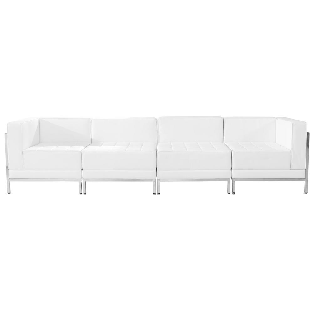 Hercules Imagination Series White Leather 4 Piece Lounge Set