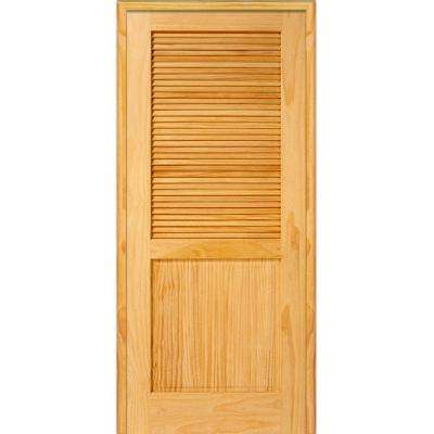 36 in. x 80 in. Half Louver 1-Panel Unfinished Pine Wood Left Hand Single Prehung Interior Door