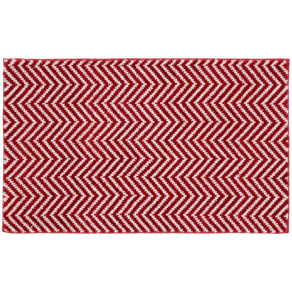 Palazzo II Crimson Red/White 21 in. x 34 in. Bath Rug