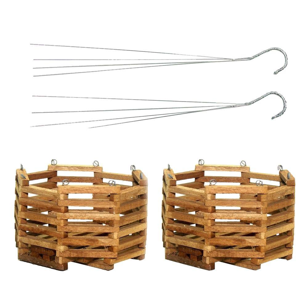 10 in. Wooden Octagon Hanging Baskets (2-Pack), Natural Wood