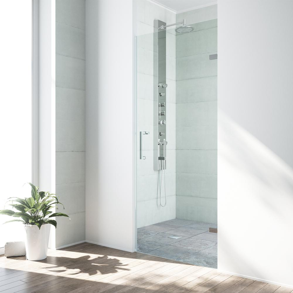 vigo soho 30 in to 305 in x in frameless pivot shower door with hardware in chrome with 38 in clear the home depot