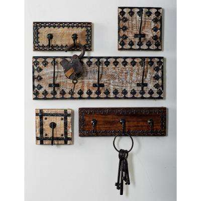 Brown Wood and Iron Wall Hook Racks with Black Accents (Set of 3)