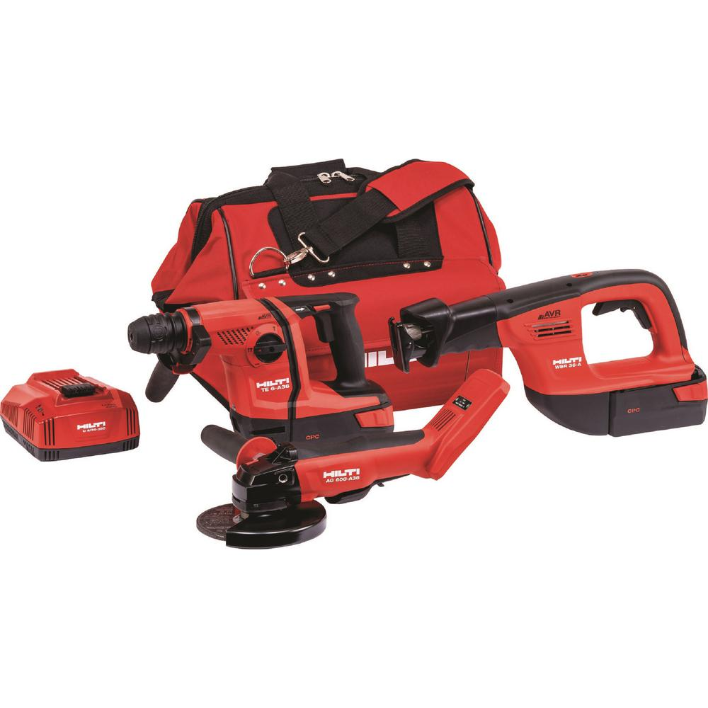 36-Volt Lithium-Ion Cordless SDS Chuck Hammer Drill/6 in. Grinder/Reciprocating