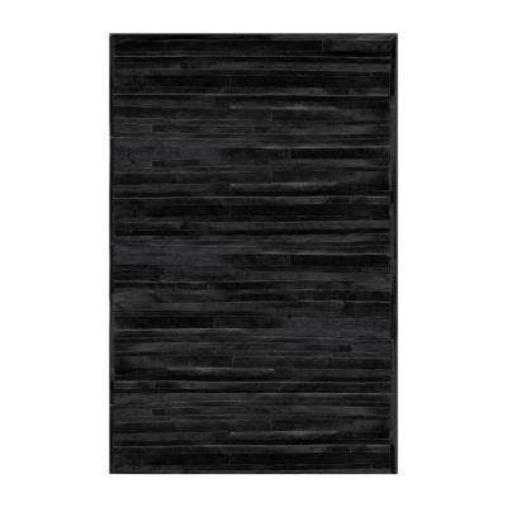 linear black 8 ft x 10 ft cowhide rug