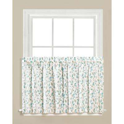 Gentle Wind Jade Polyester Rod Pocket Tier Curtain - 55 in. W x 36 in. L