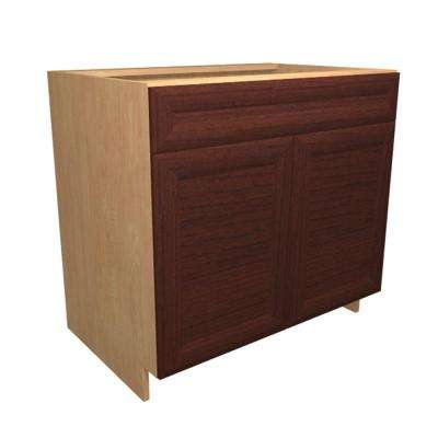36x34.5x24 in. Dolomiti Sink Base Cabinet with Pullout Caddy 2 Soft Close Doors and 2 False Drawer Fronts in Cherry