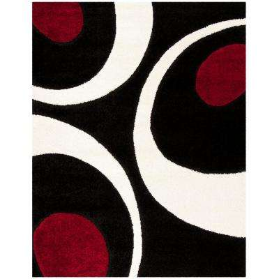 Florida Shag Black/Ivory 8 ft. x 10 ft. Area Rug