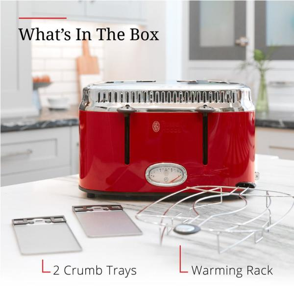 RUSSELL HOBBS 2-Slice Toaster Retro w// Removable Crumb Tray Red//Stainless-Steel