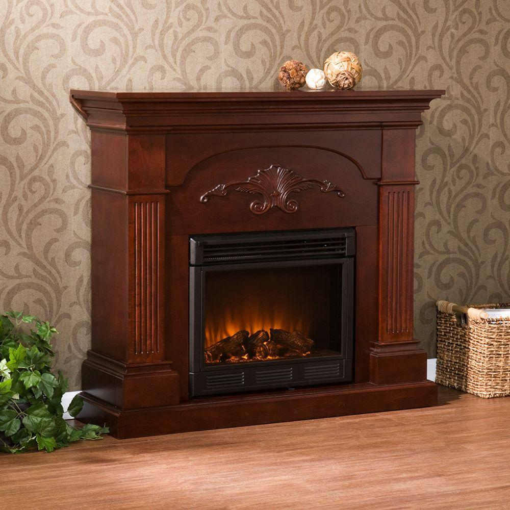 Dover In W Electric Fireplace In Mahogany Hd90640 The Home Depot