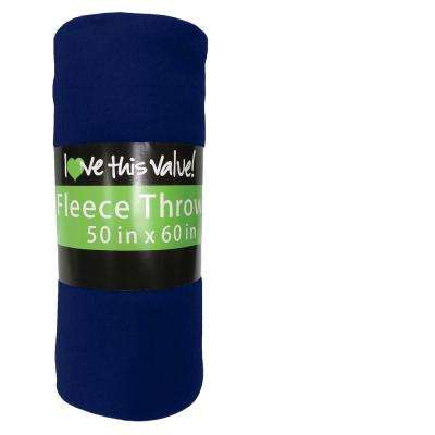 50 in. x 60 in. Navy Blue Super Soft Fleece Throw Blanket