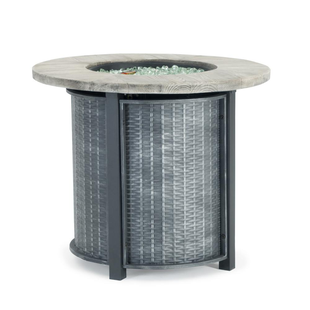 Sego Lily Logan 30 in. x 25 in. Round Powder-Coated Steel Propane Fire Pit Table in Grey with Storage Cover