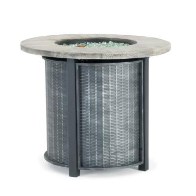 Logan 30 in. x 25 in. Round Powder-Coated Steel Propane Fire Pit Table in Grey with Storage Cover