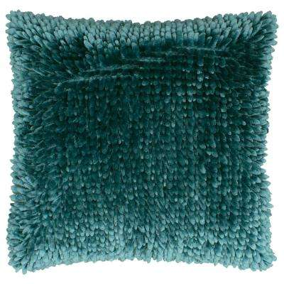 Butter Chenille 18 in. x 18 in. Harbor Teal Decorative Pillow