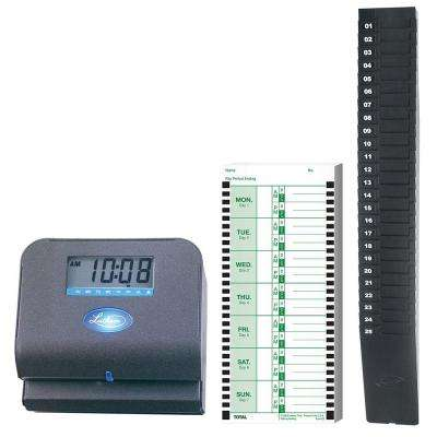 Low Cost Employee Time Recorder with Expandable Rack and 100 Double Sided Cards