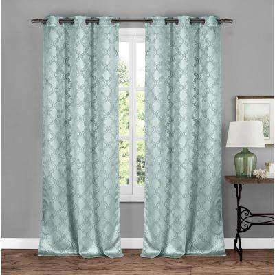 Brylee Soft Blue Blackout Grommet Panel Pair - 38 in. W x 84 in. L (2-Piece)