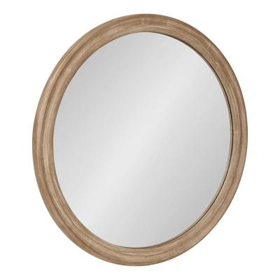 Mansell 28 in. x 28 in. Classic Round Framed Brown Wall Accent Mirror