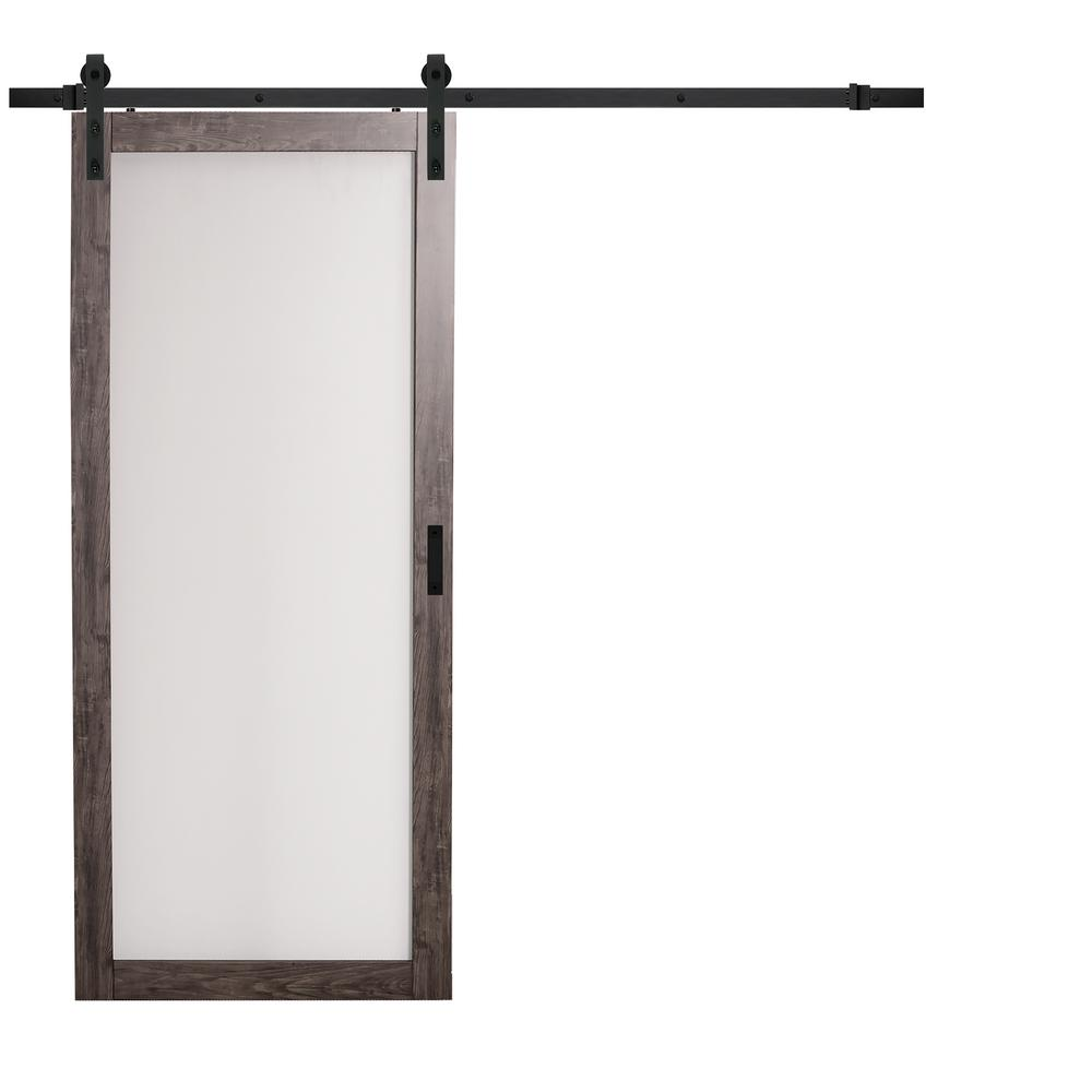 Truporte 36 in x 84 in iron age gray mdf frosted glass 1 for Frosted glass sliding doors