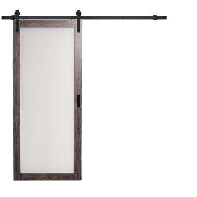36 in. x 84 in. Iron Age Gray MDF Frosted Glass 1 Lite Design Barn Door with Rustic Sliding Door Hardware Kit