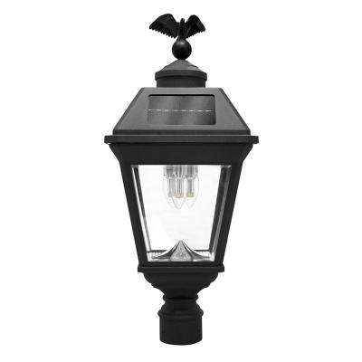 Imperial Bulb 3-Light Outdoor Black Integrated LED Post Light with 3 in. Fitter and GS Solar LED Light Bulb