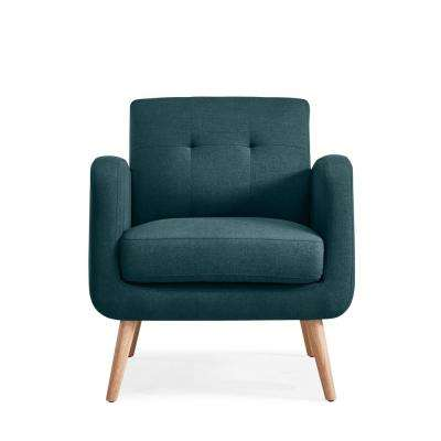 Kingston Caribbean Blue Linen Mid Century Modern Arm Chair