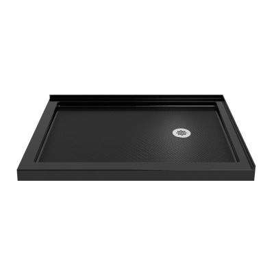SlimLine 36 in. D x 60 in. W Double Threshold Shower Base in Black with Right Hand Drain