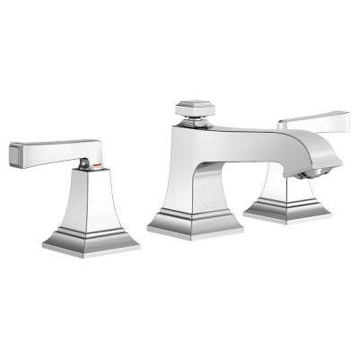 Town Square S 8 in. Widespread 2-Handle Bathroom Faucet with Red/Blue Indicators and Pop-up Drain in Polished Chrome