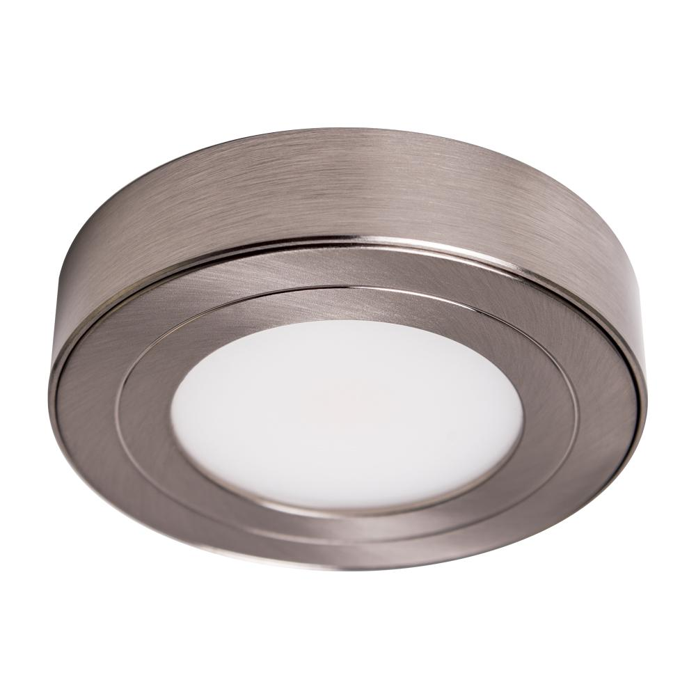PureVue Dimmable Soft White LED Puck Light Brushed Steel Finish